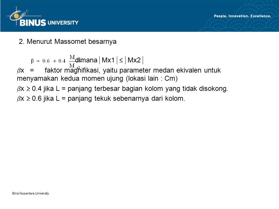 Bina Nusantara University 2. Menurut Massomet besarnya dimana  Mx1  Mx2   x =faktor magnifikasi, yaitu parameter medan ekivalen untuk menyamakan