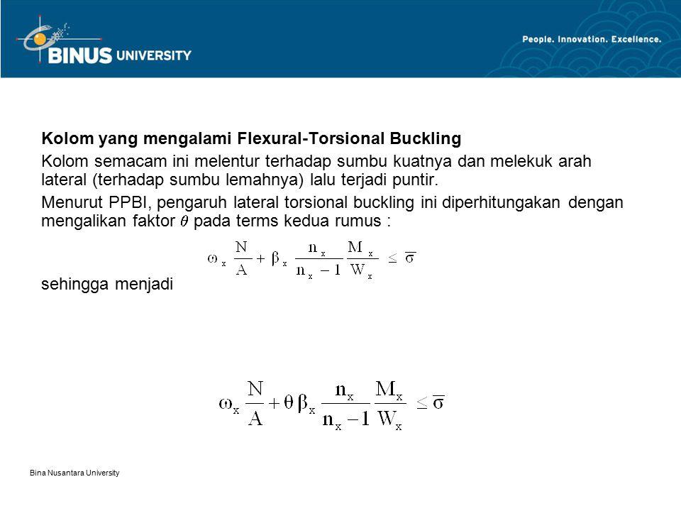 Bina Nusantara University Kolom yang mengalami Flexural-Torsional Buckling Kolom semacam ini melentur terhadap sumbu kuatnya dan melekuk arah lateral