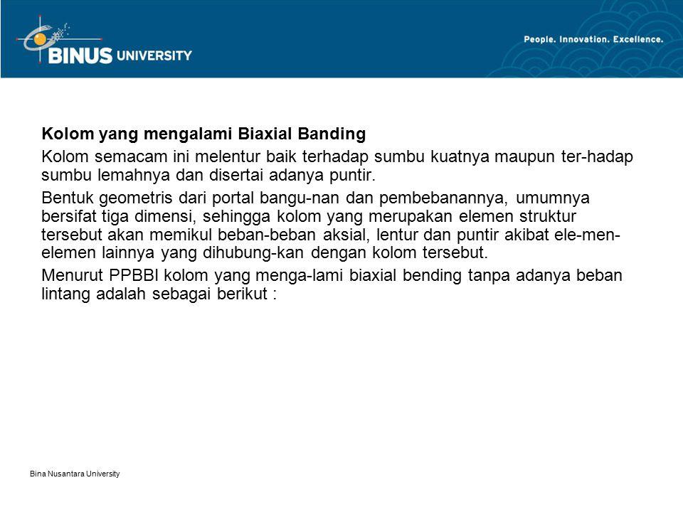 Bina Nusantara University Kolom yang mengalami Biaxial Banding Kolom semacam ini melentur baik terhadap sumbu kuatnya maupun ter-hadap sumbu lemahnya
