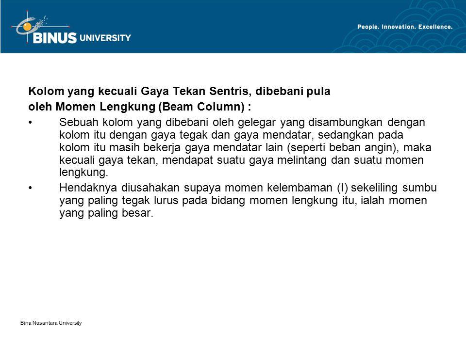 Bina Nusantara University Kolom yang mengalami Biaxial Banding Kolom semacam ini melentur baik terhadap sumbu kuatnya maupun ter-hadap sumbu lemahnya dan disertai adanya puntir.