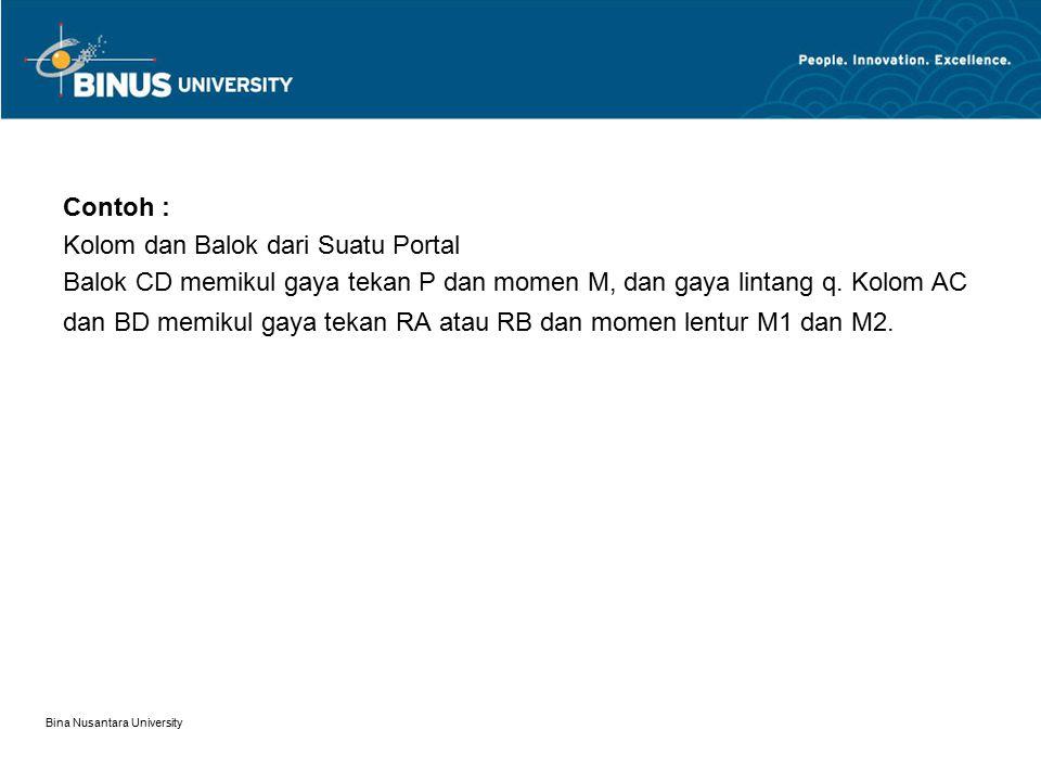 Bina Nusantara University Contoh : Kolom dan Balok dari Suatu Portal Balok CD memikul gaya tekan P dan momen M, dan gaya lintang q. Kolom AC dan BD me