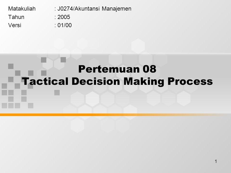 1 Pertemuan 08 Tactical Decision Making Process Matakuliah: J0274/Akuntansi Manajemen Tahun: 2005 Versi: 01/00