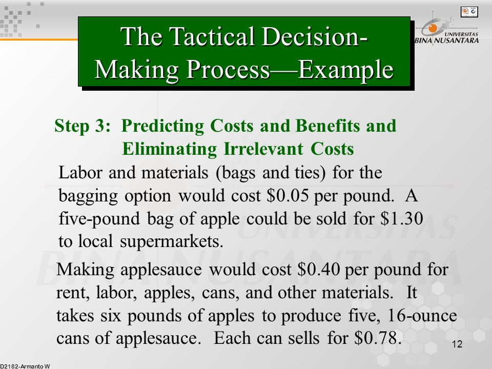 D2182-Armanto W 12 The Tactical Decision- Making Process—Example Step 3: Predicting Costs and Benefits and Eliminating Irrelevant Costs Labor and mate