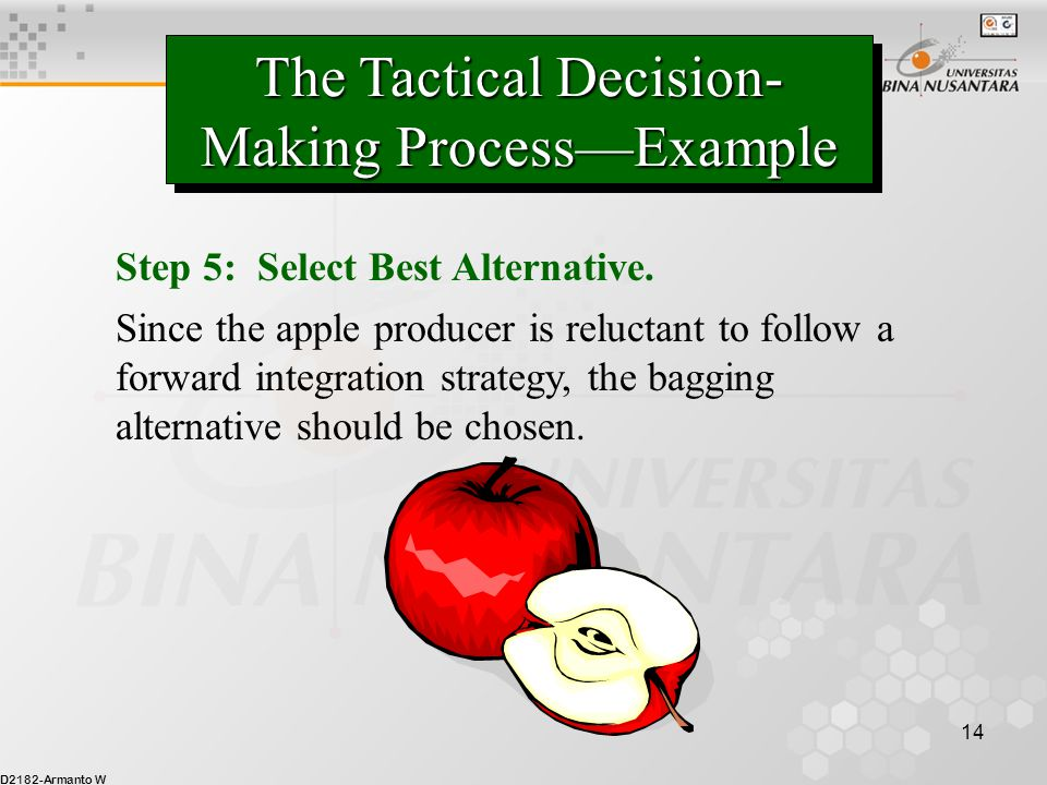 D2182-Armanto W 14 The Tactical Decision- Making Process—Example Step 5: Select Best Alternative. Since the apple producer is reluctant to follow a fo