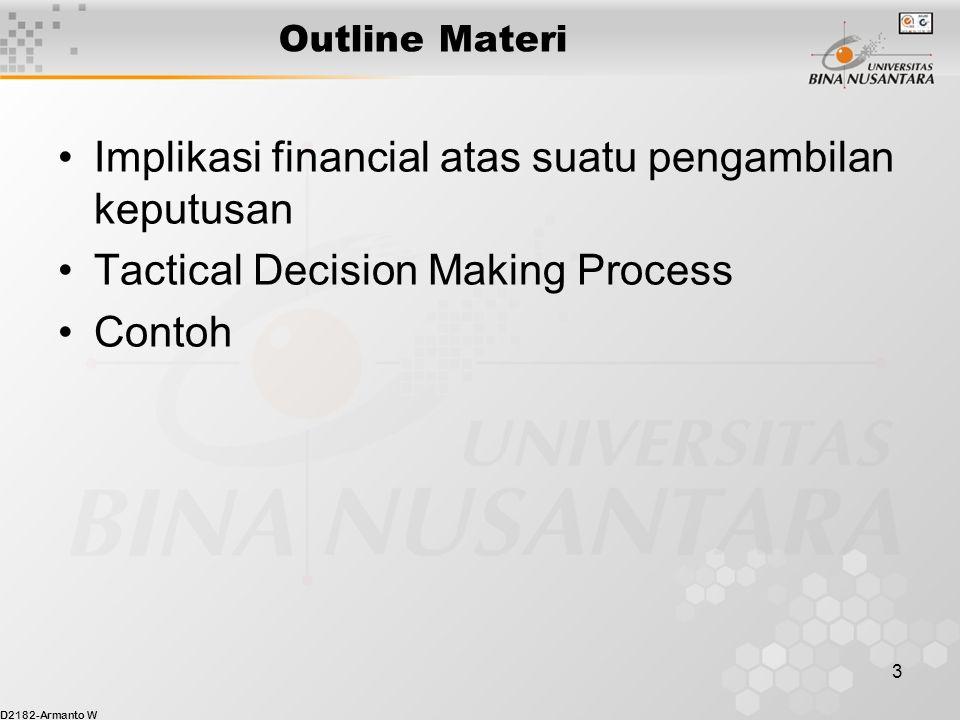 D2182-Armanto W 3 Outline Materi Implikasi financial atas suatu pengambilan keputusan Tactical Decision Making Process Contoh