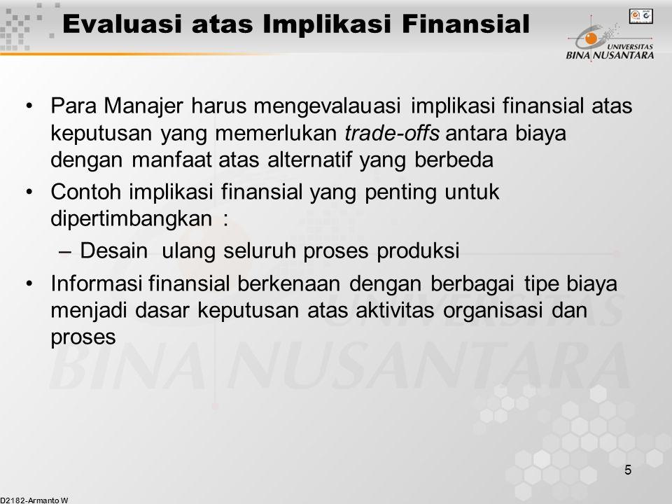 D2182-Armanto W 5 Evaluasi atas Implikasi Finansial Para Manajer harus mengevalauasi implikasi finansial atas keputusan yang memerlukan trade-offs ant