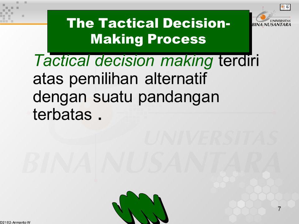 D2182-Armanto W 7 The Tactical Decision- Making Process Tactical decision making terdiri atas pemilihan alternatif dengan suatu pandangan terbatas.
