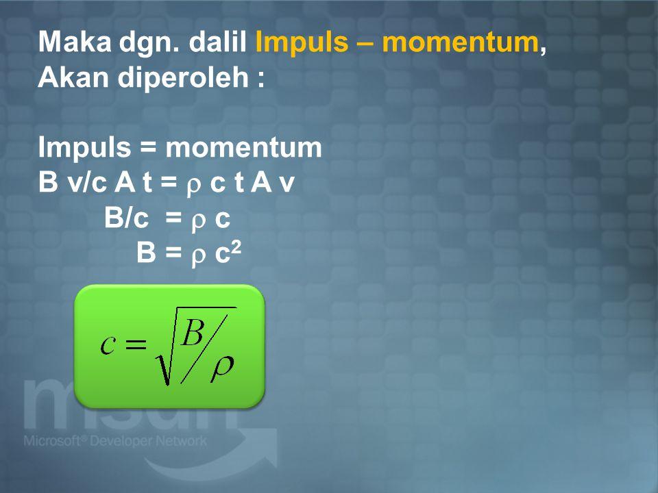 Maka dgn. dalil Impuls – momentum, Akan diperoleh : Impuls = momentum B v/c A t =  c t A v B/c =  c B =  c 2