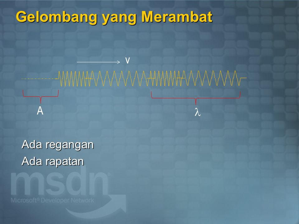 Jawaban 2 Y = A sin (2  f t – kx ) Y = 5 sin ( 50 t – x/4 ) Maka : A = amplitudo = 5 m = 500 cm 2  f = 50 = 50/6,28  f = 7,96 hz f = 1/T T = 1 / f = 1 / 7,96 = 0,126 dt k=2  / =1/4 = 8  = 25,12 m v = f = 7,96.