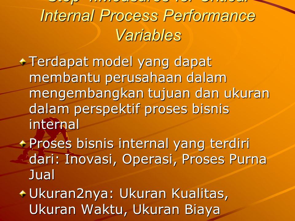 Step 4:Measures for Critical Internal Process Performance Variables Terdapat model yang dapat membantu perusahaan dalam mengembangkan tujuan dan ukura