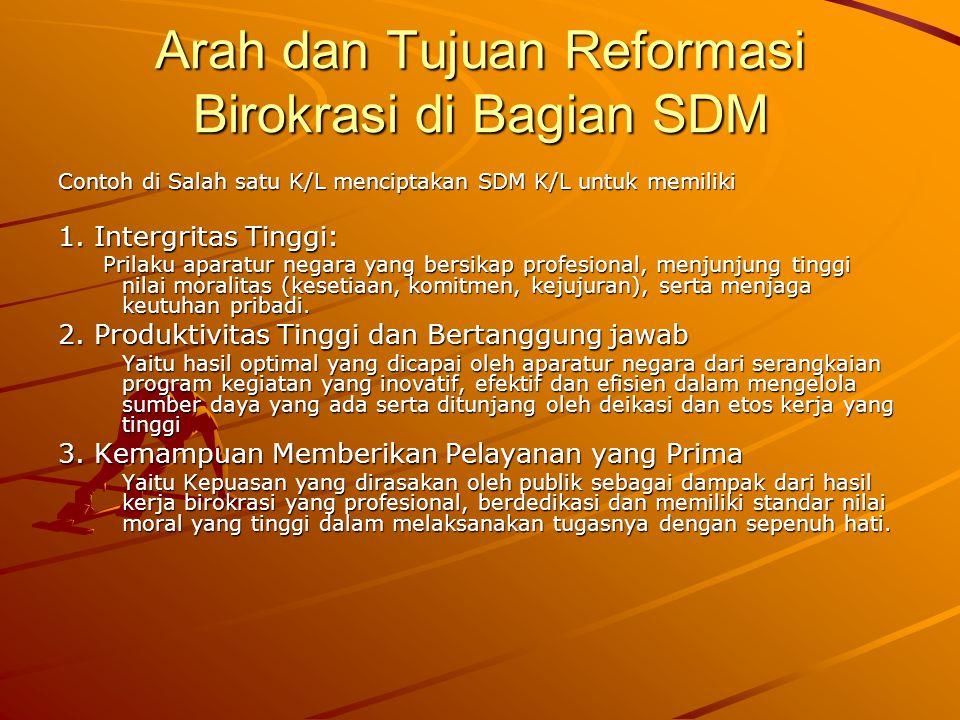 Arah dan Tujuan Reformasi Birokrasi di Bagian SDM Contoh di Salah satu K/L menciptakan SDM K/L untuk memiliki 1. Intergritas Tinggi: Prilaku aparatur