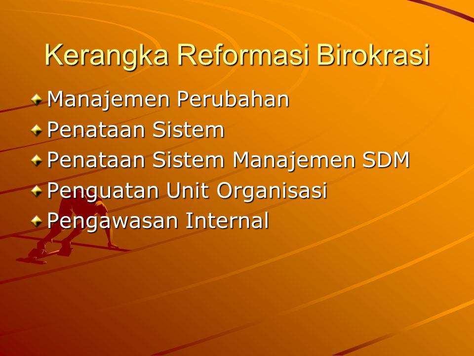 Kerangka Reformasi Birokrasi Manajemen Perubahan Penataan Sistem Penataan Sistem Manajemen SDM Penguatan Unit Organisasi Pengawasan Internal