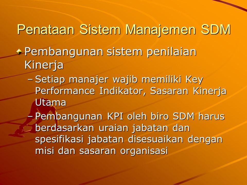 Penataan Sistem Manajemen SDM Pembangunan sistem penilaian Kinerja –Setiap manajer wajib memiliki Key Performance Indikator, Sasaran Kinerja Utama –Pe
