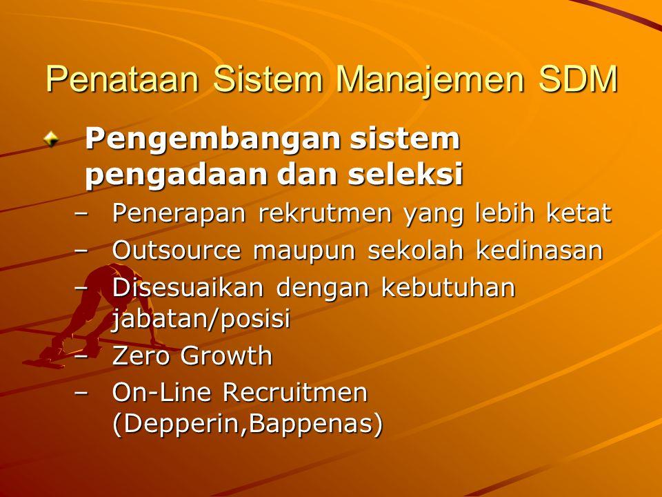 Penataan Sistem Manajemen SDM Pengembangan sistem pengadaan dan seleksi –Penerapan rekrutmen yang lebih ketat –Outsource maupun sekolah kedinasan –Dis