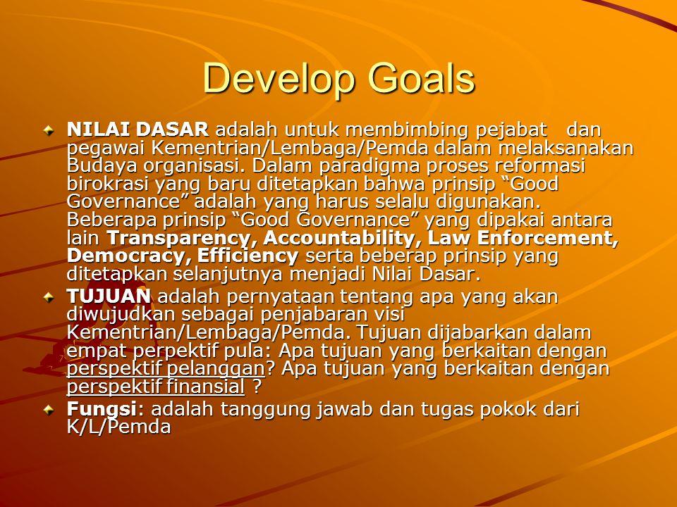 Develop Goals NILAI DASAR adalah untuk membimbing pejabat dan pegawai Kementrian/Lembaga/Pemda dalam melaksanakan Budaya organisasi. Dalam paradigma p