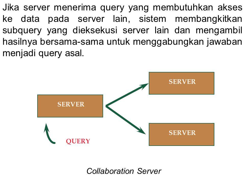 Jika server menerima query yang membutuhkan akses ke data pada server lain, sistem membangkitkan subquery yang dieksekusi server lain dan mengambil ha