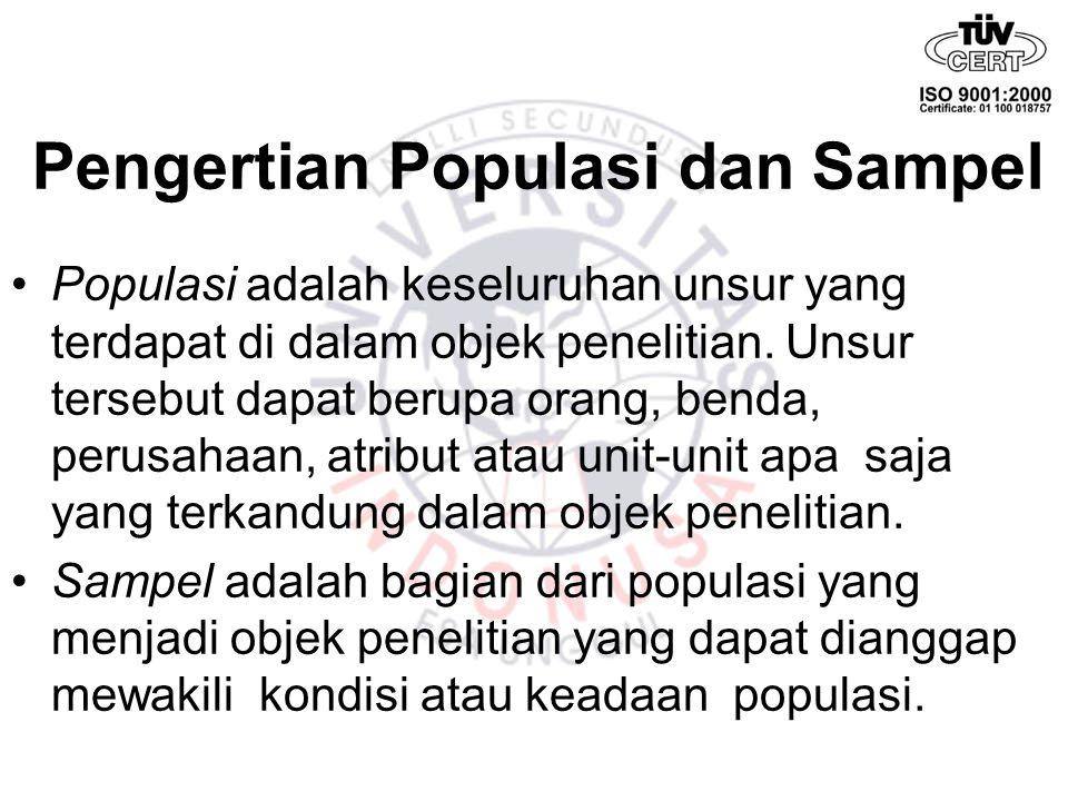 Pengertian Populasi dan Sampel Populasi adalah keseluruhan unsur yang terdapat di dalam objek penelitian. Unsur tersebut dapat berupa orang, benda, pe