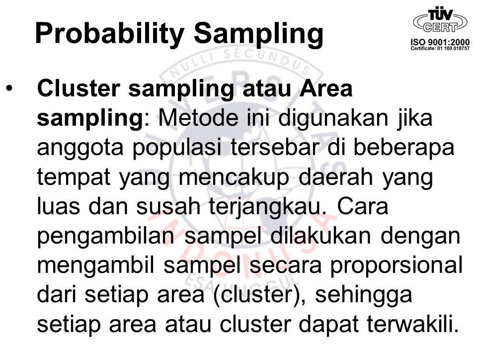 Probability Sampling Cluster sampling atau Area sampling: Metode ini digunakan jika anggota populasi tersebar di beberapa tempat yang mencakup daerah