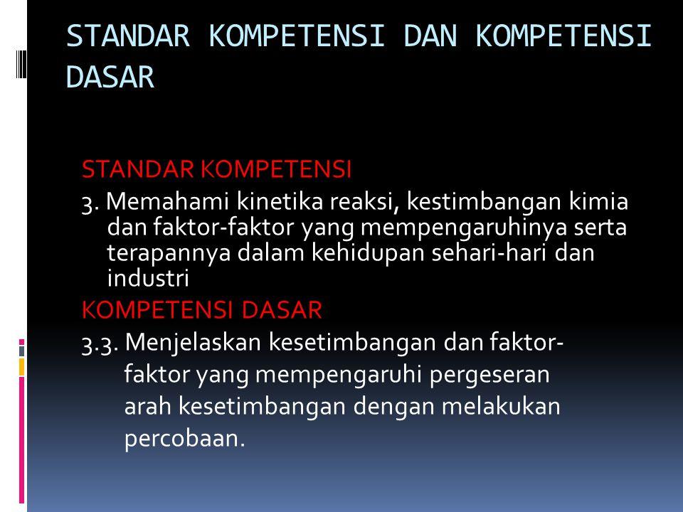 STANDAR KOMPETENSI DAN KOMPETENSI DASAR STANDAR KOMPETENSI 3.