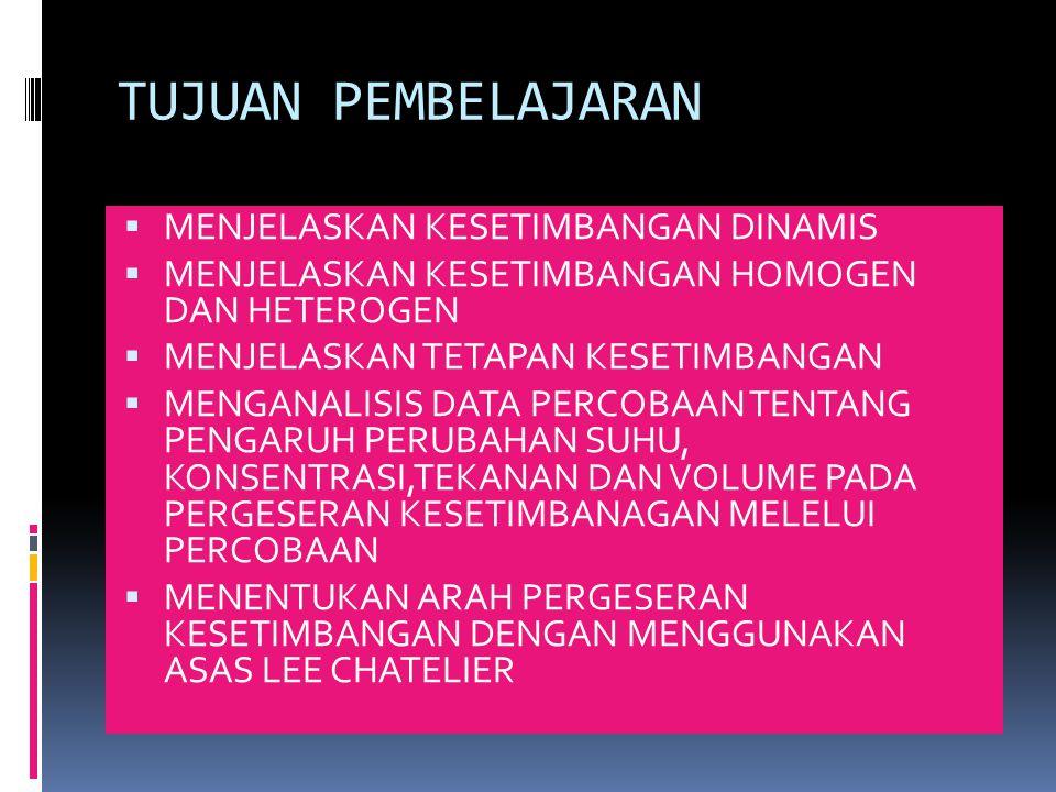 PERUBAHAN TEKANAN DAN VOLUME  PADA SISTIM SETIMBANG:  JIKA TEKANAN DIPERBESAR( VOLUME DIPERKECIL) KESETIMBANGAN AKAN BERGESER KEARAH JUMLAH MOLEKUL (JUMLAH KOEFISIEN)YANG LEBIH KECIL  JIKA TEKANAN DIPERKECIL( VOLUME DIPERBESAR) KESETIMBANGAN AKAN BERGESER KEARAH JUMLAH MOLEKUL (JUMLAH KOEFISIEN)YANG LEBIH BESAR  DAN TEKANAN DAN VOLUME TIDAK AKAN BERLAKU PADA SISTIM SETIMBANG GAS YANG JUMLAH MOLEKULNYA ( JUMLAH KOEFISIENNYA) SAMA.