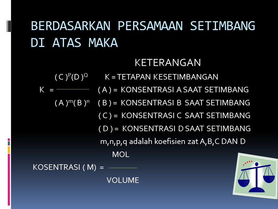 BERDASARKAN PERSAMAAN SETIMBANG DI ATAS MAKA KETERANGAN ( C ) P (D ) Q K = TETAPAN KESETIMBANGAN K = ( A ) = KONSENTRASI A SAAT SETIMBANG ( A ) m ( B ) n ( B ) = KONSENTRASI B SAAT SETIMBANG ( C ) = KONSENTRASI C SAAT SETIMBANG ( D ) = KONSENTRASI D SAAT SETIMBANG m,n,p,q adalah koefisien zat A,B,C DAN D MOL KOSENTRASI ( M) = VOLUME