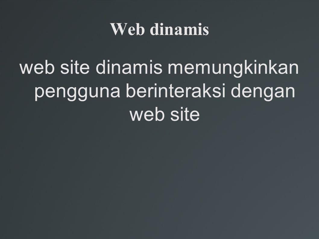 Web dinamis web site dinamis memungkinkan pengguna berinteraksi dengan web site