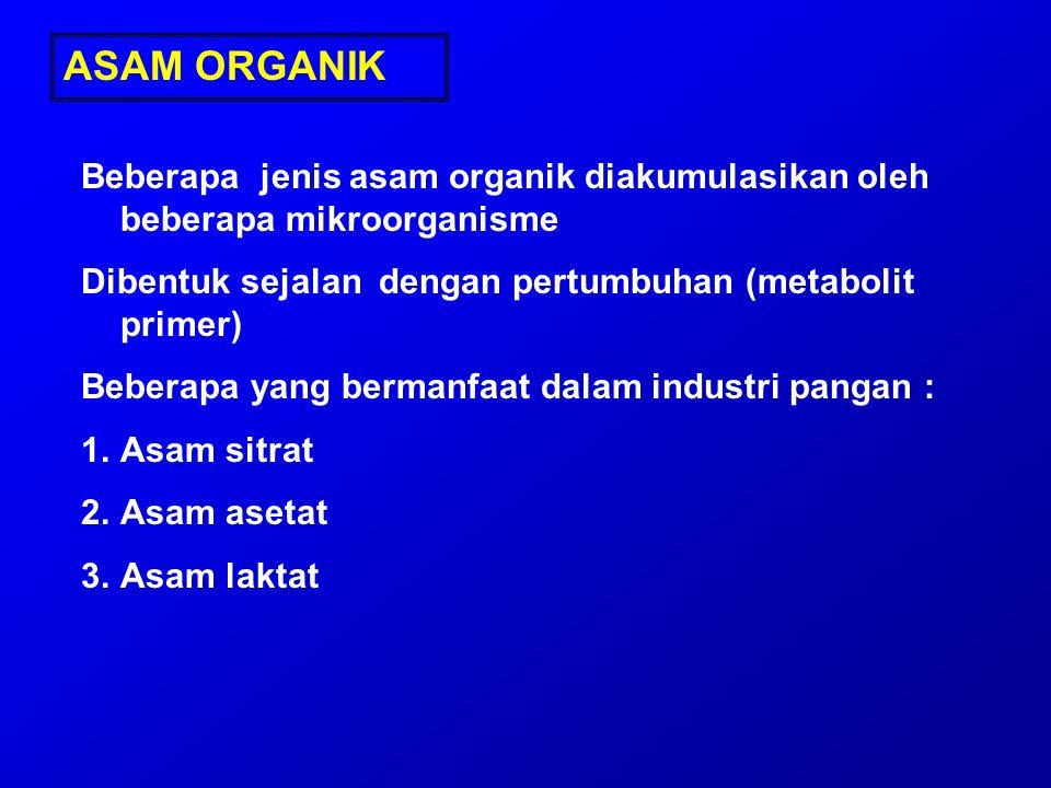 ASAM ORGANIK Beberapa jenis asam organik diakumulasikan oleh beberapa mikroorganisme Dibentuk sejalan dengan pertumbuhan (metabolit primer) Beberapa y