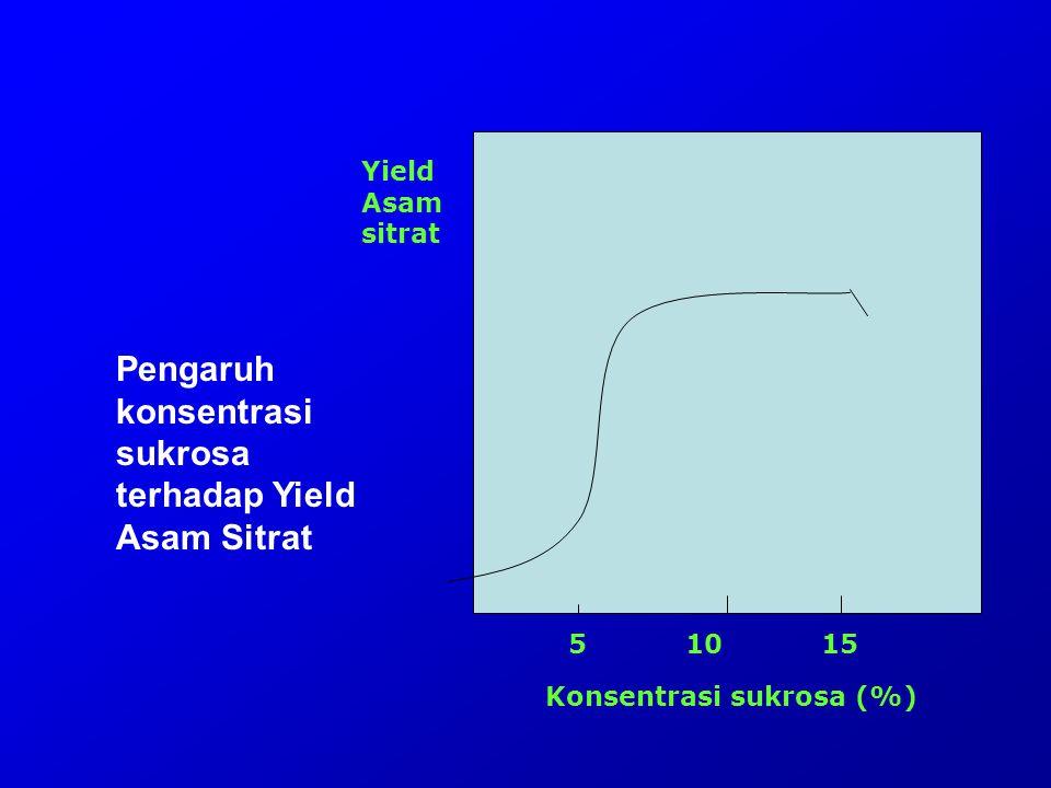 Konsentrasi sukrosa (%) 5 10 15 Yield Asam sitrat Pengaruh konsentrasi sukrosa terhadap Yield Asam Sitrat