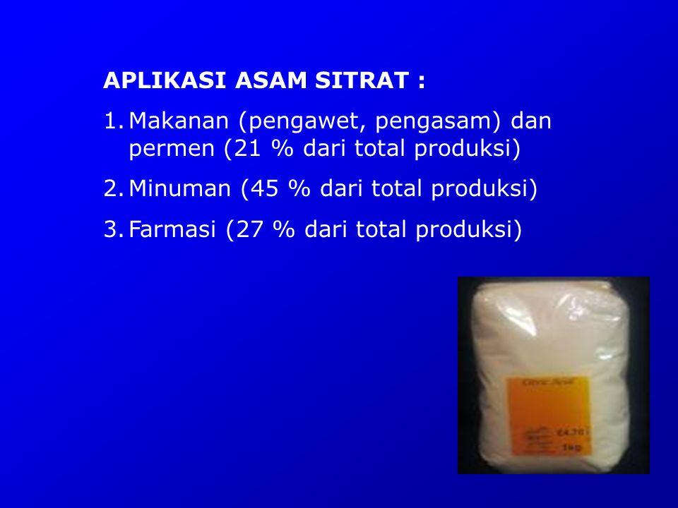 APLIKASI ASAM SITRAT : 1.Makanan (pengawet, pengasam) dan permen (21 % dari total produksi) 2.Minuman (45 % dari total produksi) 3.Farmasi (27 % dari