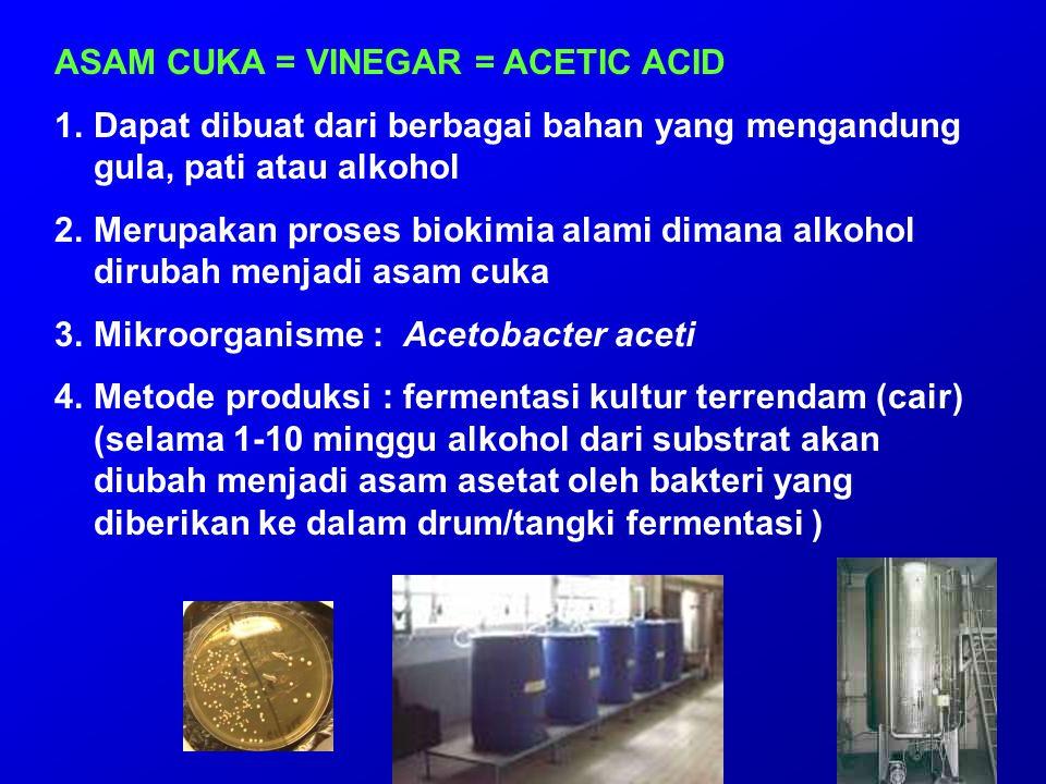 ASAM CUKA = VINEGAR = ACETIC ACID 1.Dapat dibuat dari berbagai bahan yang mengandung gula, pati atau alkohol 2.Merupakan proses biokimia alami dimana