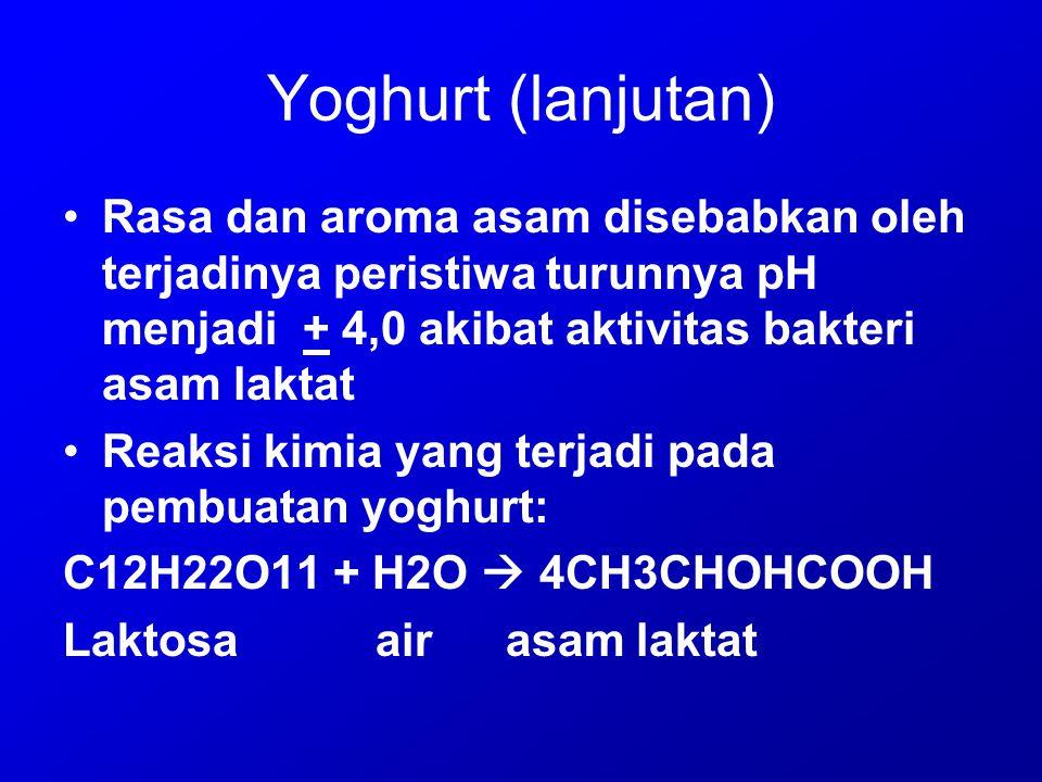 Yoghurt (lanjutan) Rasa dan aroma asam disebabkan oleh terjadinya peristiwa turunnya pH menjadi + 4,0 akibat aktivitas bakteri asam laktat Reaksi kimi