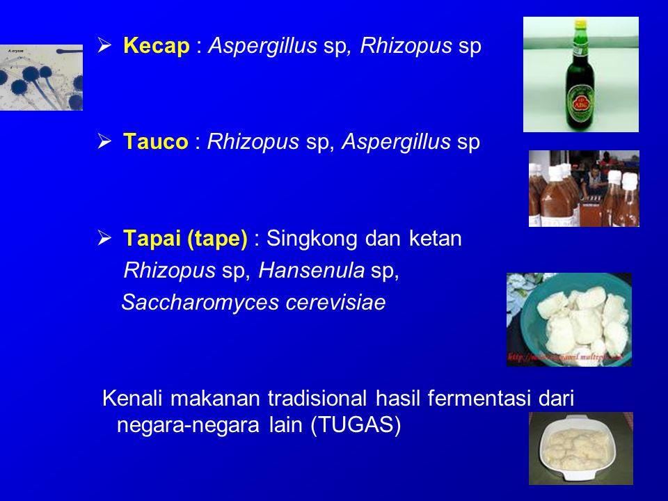  Kecap : Aspergillus sp, Rhizopus sp  Tauco : Rhizopus sp, Aspergillus sp  Tapai (tape) : Singkong dan ketan Rhizopus sp, Hansenula sp, Saccharomyc