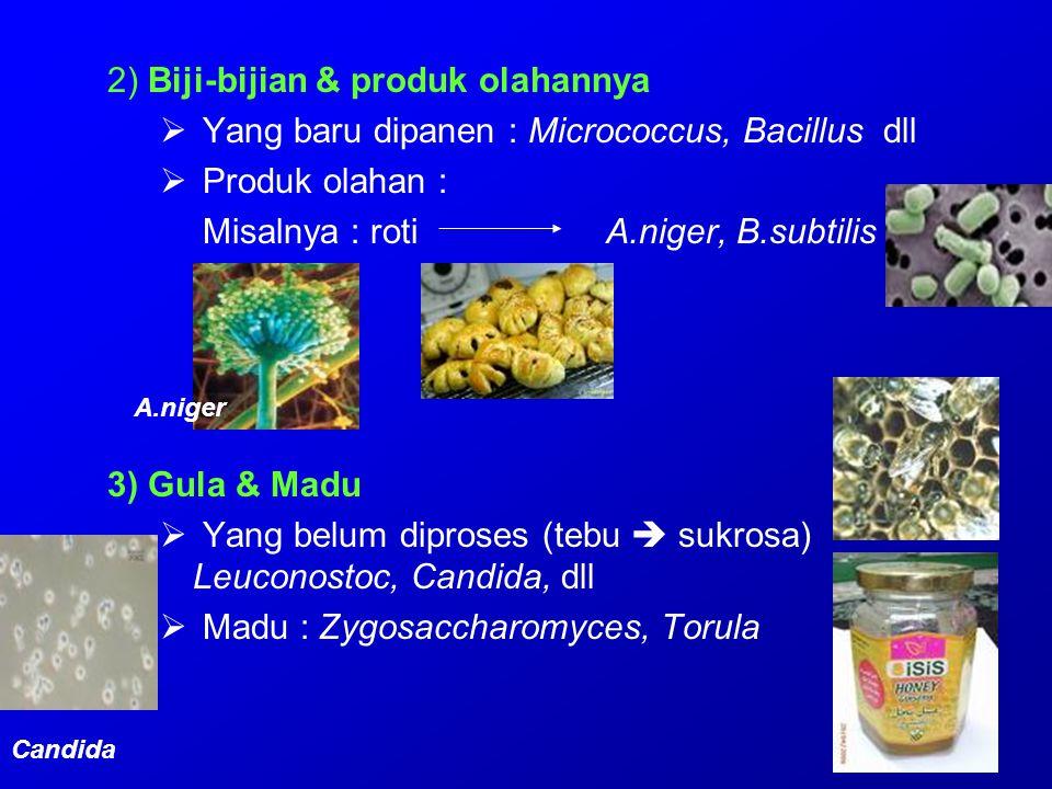 2) Biji-bijian & produk olahannya  Yang baru dipanen : Micrococcus, Bacillus dll  Produk olahan : Misalnya : roti A.niger, B.subtilis 3) Gula & Madu