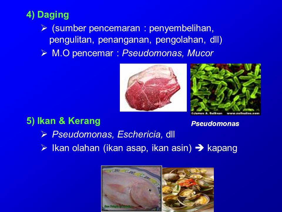 Makanan tradisional (Indonesia)  Oncom : - oncom hitam : Rhizopus oligosporus - oncom merah : Neurospora sitophila Kontaminasi : Aspergilus flavus racun aflatoksin  Tempe (kedelai ) - Rhizopus oryzae, R.arrhizus, R.oligosporus, banyak mengandung vit B12  Tempe bongkrek (ampas kelapa ) Rhizopus oligosporus, R.nodosus Kontaminasi ; - Pseudomonas cocovenans (racun : toksoflavin) - Asam bongkrek