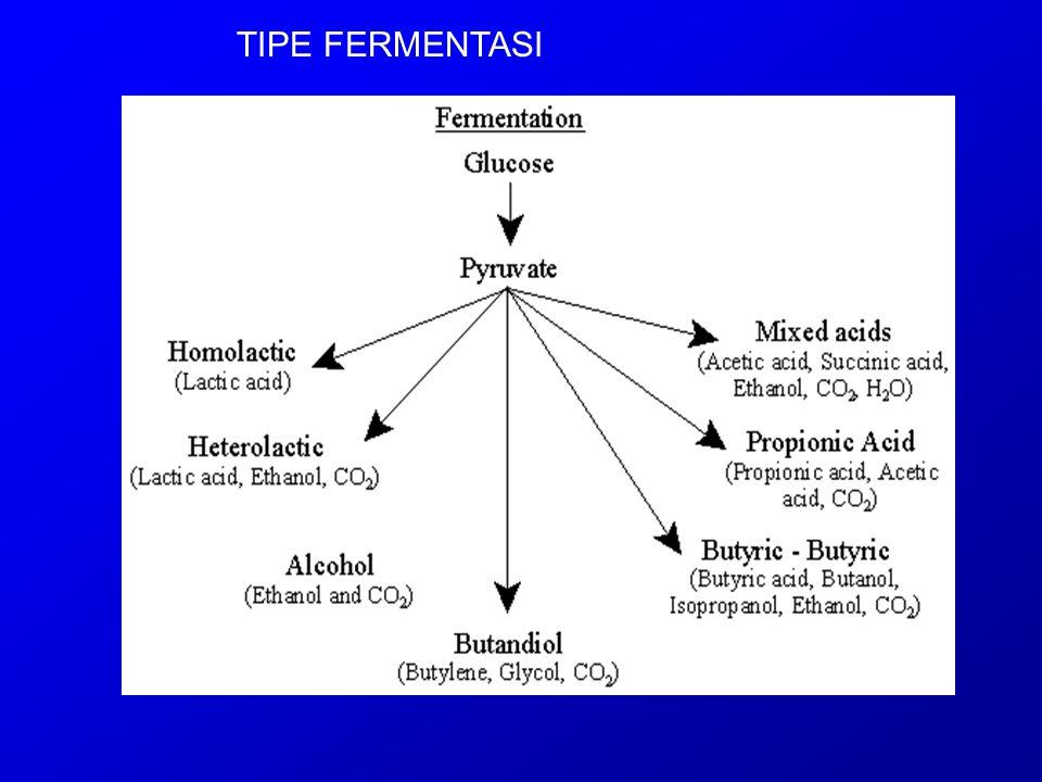 Tipe fermentasi glukosa yang umum adalah : 1.Fermentasi Homolaktat (lintasan yang paling sederhana; piruvat dikonversi langsung menjadi asam laktat ; tidak ada produksi gas; mikroorganisme : Lactobacillus, Streptococcus, Bacillus) 2.Fermentasi Alkohol (produk : etanol dan CO 2  khamir Saccharomyces sp.), 3.Fermentasi Heterolaktat (ethanol, CO 2, asam laktat; Leuconostoc and Lactobacillus), 4.Mixed acids fermentation (the characteristic tested for in the methyl red test; E.