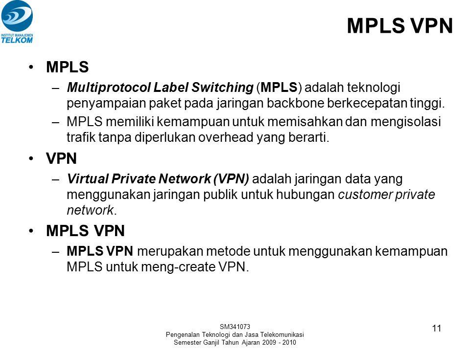 MPLS VPN SM341073 Pengenalan Teknologi dan Jasa Telekomunikasi Semester Ganjil Tahun Ajaran 2009 - 2010 11 MPLS –Multiprotocol Label Switching (MPLS)