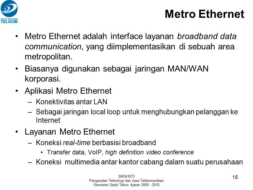 Metro Ethernet Metro Ethernet adalah interface layanan broadband data communication, yang diimplementasikan di sebuah area metropolitan. Biasanya digu