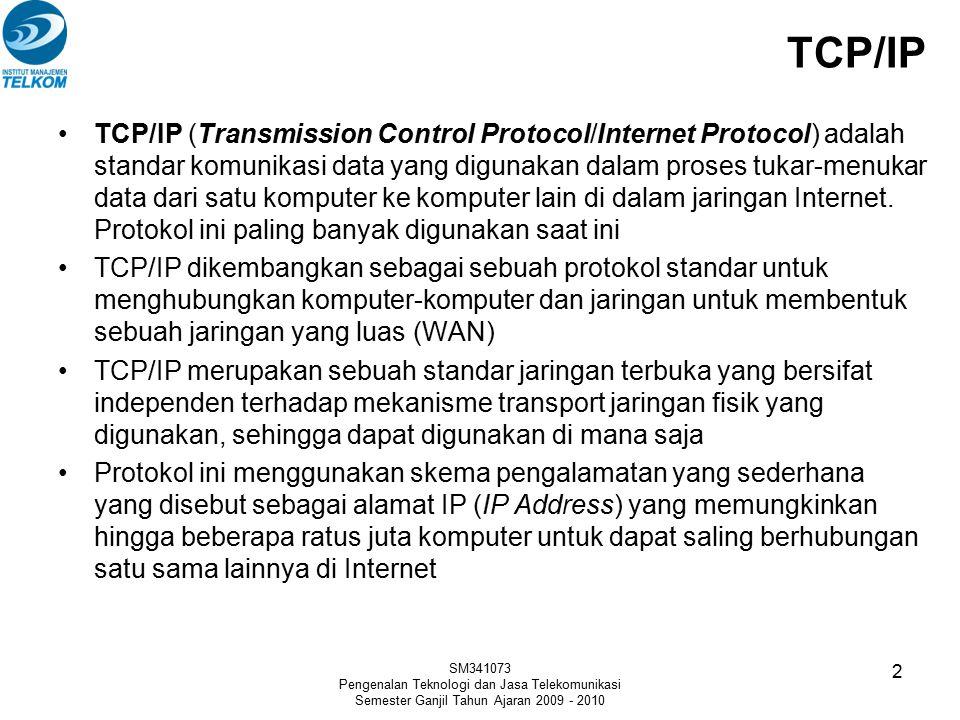 TCP/IP TCP/IP (Transmission Control Protocol/Internet Protocol) adalah standar komunikasi data yang digunakan dalam proses tukar-menukar data dari sat