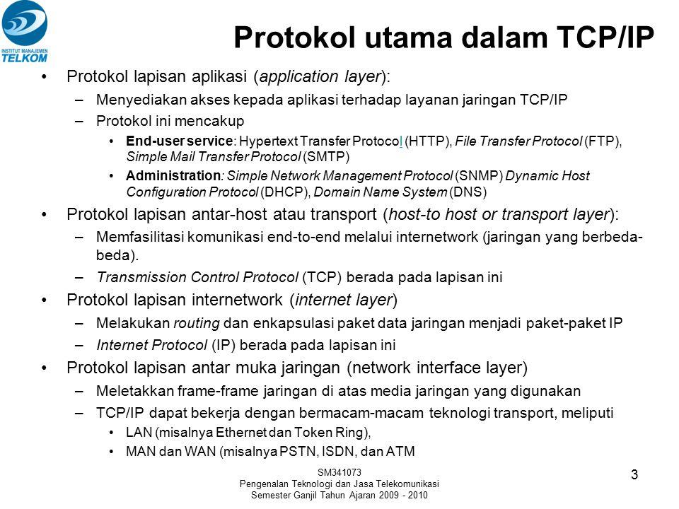 Protokol utama dalam TCP/IP Protokol lapisan aplikasi (application layer): –Menyediakan akses kepada aplikasi terhadap layanan jaringan TCP/IP –Protok