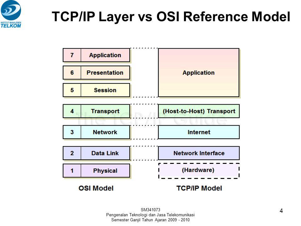 TCP/IP Layer vs OSI Reference Model SM341073 Pengenalan Teknologi dan Jasa Telekomunikasi Semester Ganjil Tahun Ajaran 2009 - 2010 4