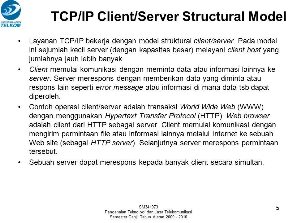TCP/IP Client/Server Structural Model Layanan TCP/IP bekerja dengan model struktural client/server. Pada model ini sejumlah kecil server (dengan kapas