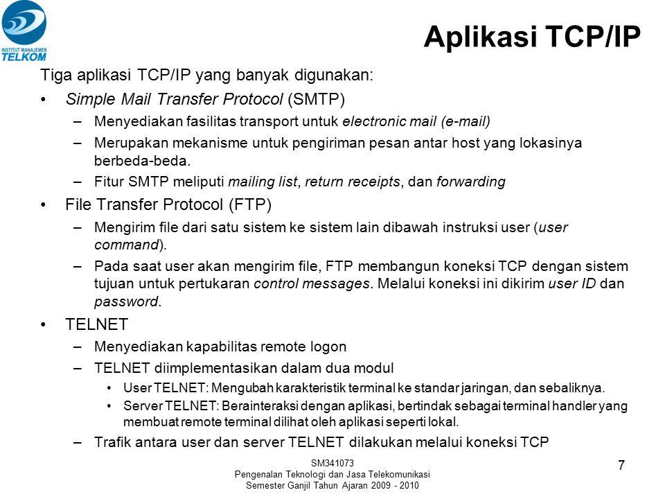 Aplikasi TCP/IP Tiga aplikasi TCP/IP yang banyak digunakan: Simple Mail Transfer Protocol (SMTP) –Menyediakan fasilitas transport untuk electronic mai