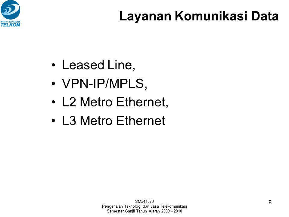 Layanan Komunikasi Data Leased Line, VPN-IP/MPLS, L2 Metro Ethernet, L3 Metro Ethernet SM341073 Pengenalan Teknologi dan Jasa Telekomunikasi Semester