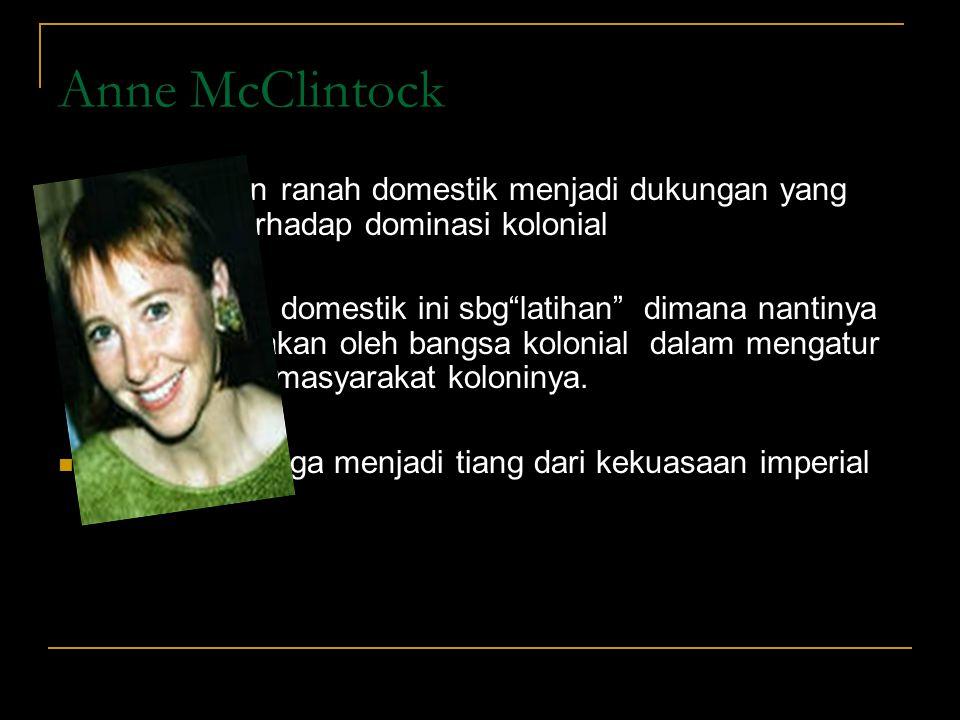 """Anne McClintock penempatan ranah domestik menjadi dukungan yang vital juga terhadap dominasi kolonial Managemen domestik ini sbg""""latihan"""" dimana nanti"""