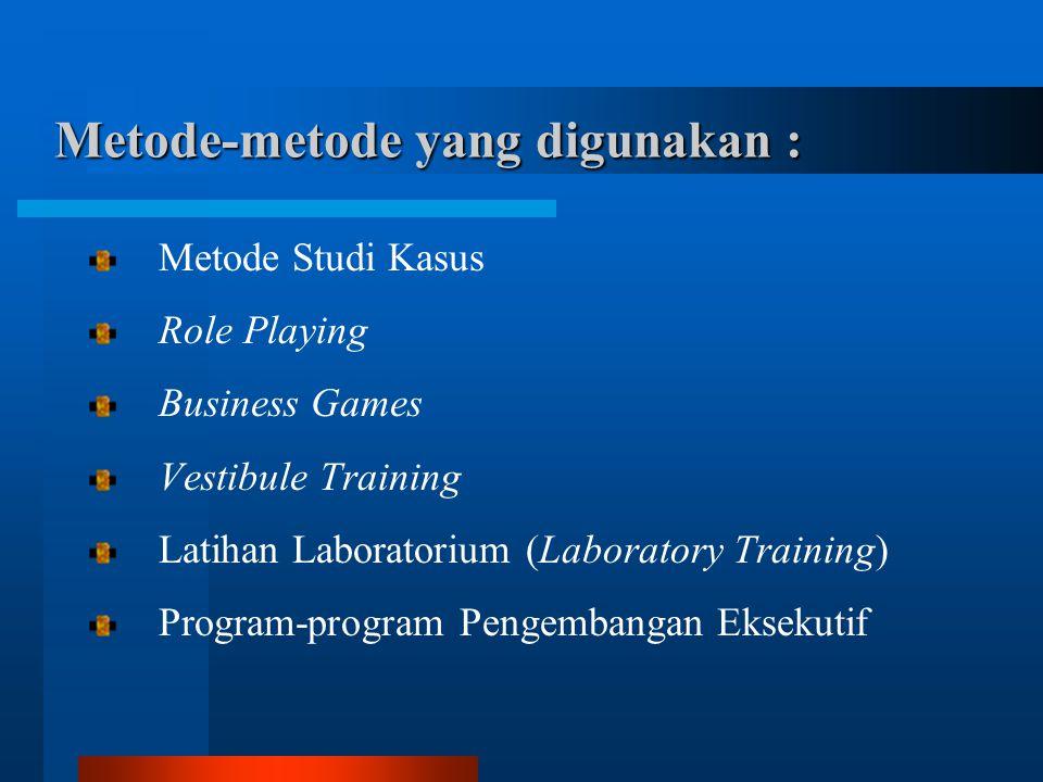 Metode-metode yang digunakan : Metode Studi Kasus Role Playing Business Games Vestibule Training Latihan Laboratorium (Laboratory Training) Program-program Pengembangan Eksekutif