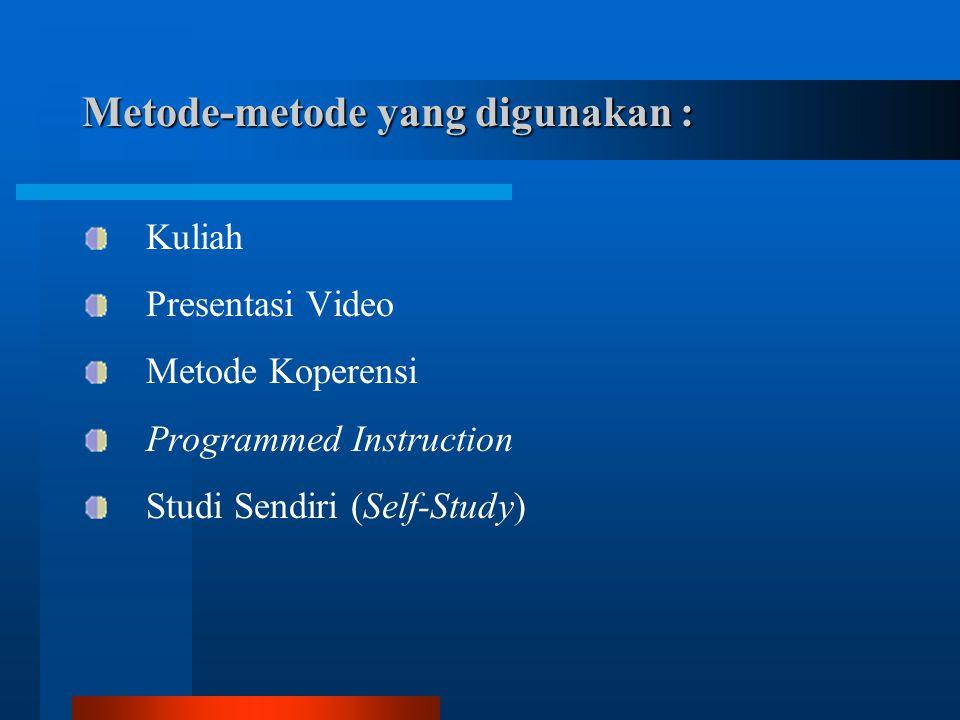 Kuliah Presentasi Video Metode Koperensi Programmed Instruction Studi Sendiri (Self-Study)