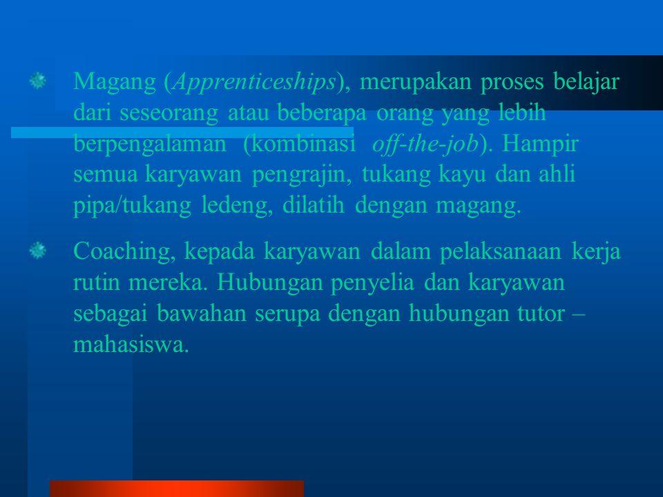 Magang (Apprenticeships), merupakan proses belajar dari seseorang atau beberapa orang yang lebih berpengalaman (kombinasi off-the-job).