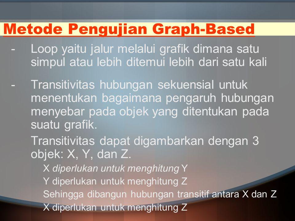 Metode Pengujian Graph-Based -Loop yaitu jalur melalui grafik dimana satu simpul atau lebih ditemui lebih dari satu kali -Transitivitas hubungan sekue