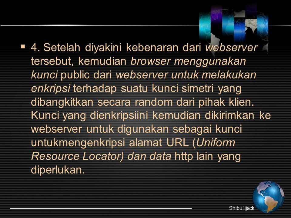  4. Setelah diyakini kebenaran dari webserver tersebut, kemudian browser menggunakan kunci public dari webserver untuk melakukan enkripsi terhadap su