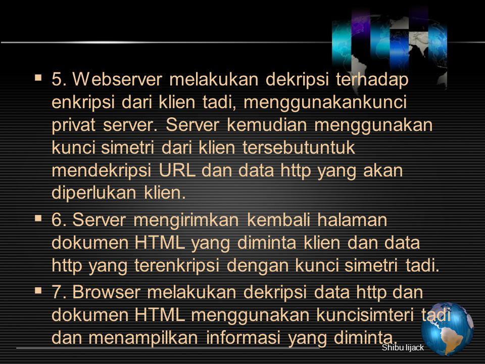  5. Webserver melakukan dekripsi terhadap enkripsi dari klien tadi, menggunakankunci privat server. Server kemudian menggunakan kunci simetri dari kl